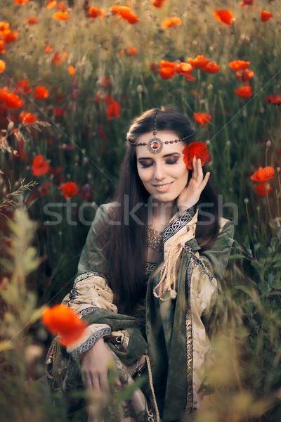 Mooie middeleeuwse koningin natuur prinses Stockfoto © NicoletaIonescu