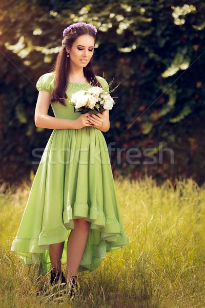 Zomer fairy meisje mooie Stockfoto © NicoletaIonescu
