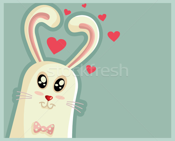 Cute Easter Bunny with Heart Shaped Ears Stock photo © NicoletaIonescu