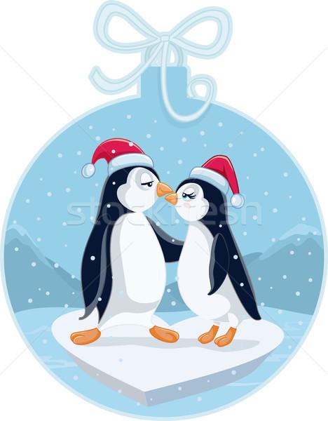 Christmas penguin family clipart