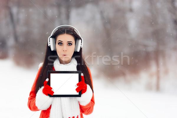 Grappig meisje hoofdtelefoon verwonderd Stockfoto © NicoletaIonescu