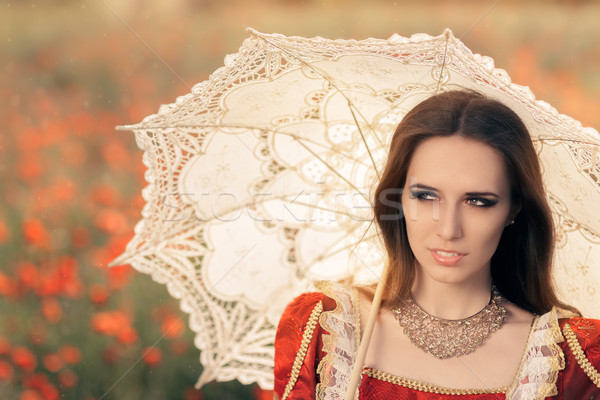 Beautiful Princess with Umbrella in Summer Floral Landscape   Stock photo © NicoletaIonescu
