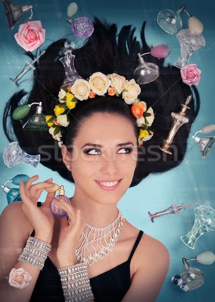Parfüm fantezi sıfır yerçekimi güzel genç kadın Stok fotoğraf © NicoletaIonescu