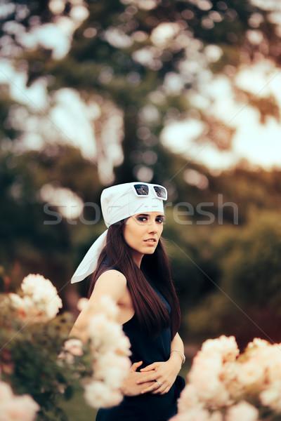 ファッション 女性 着用 頭 スカーフ レトロな ストックフォト © NicoletaIonescu