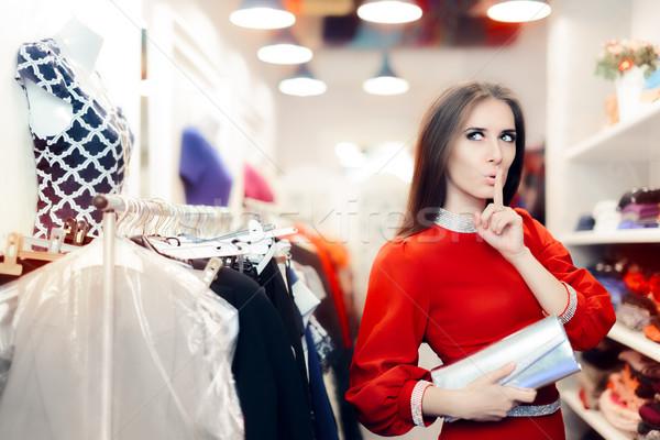 Elegáns nő titok divat bolt hideg Stock fotó © NicoletaIonescu
