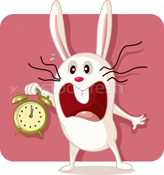 Stressed Bunny with Alarm Clock Vector Stock photo © NicoletaIonescu