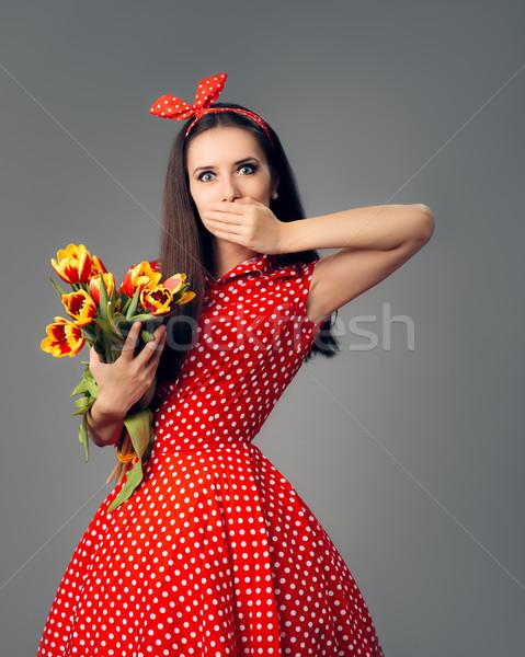 étonné fille rétro rouge polka robe Photo stock © NicoletaIonescu
