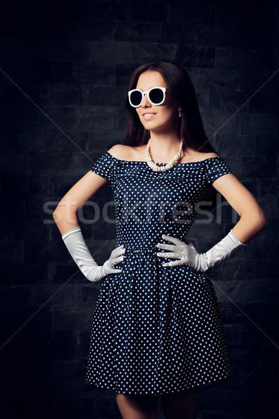 женщину плечо платье ретро Сток-фото © NicoletaIonescu