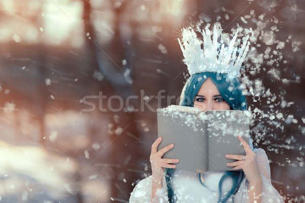 Snow Queen Reading Spell Book in Winter Fantasy Stock photo © NicoletaIonescu