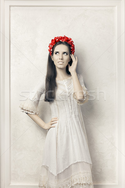 Woman in Vintage Style White Dress and Floral Wreath   Stock photo © NicoletaIonescu