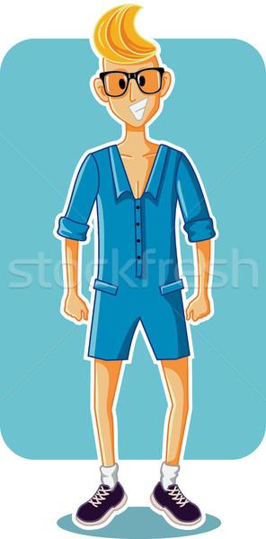 Funny Cartoon Man Wearing Male Romper Stock photo © NicoletaIonescu