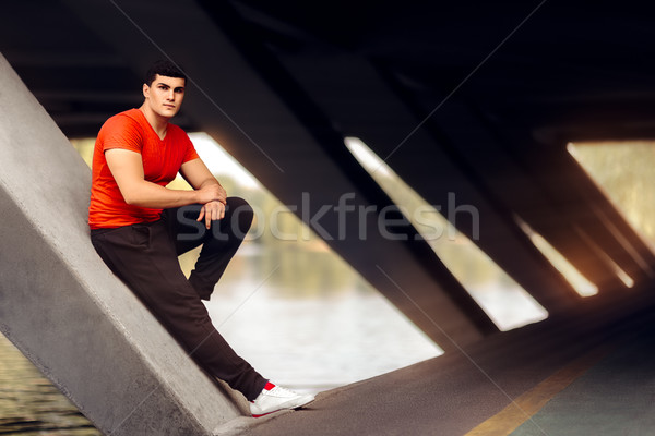 Portrait of a Handsome Athletic Man in Urban Decor Stock photo © NicoletaIonescu