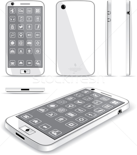 White Smart Phone - Multiple Views  Stock photo © NicoletaIonescu