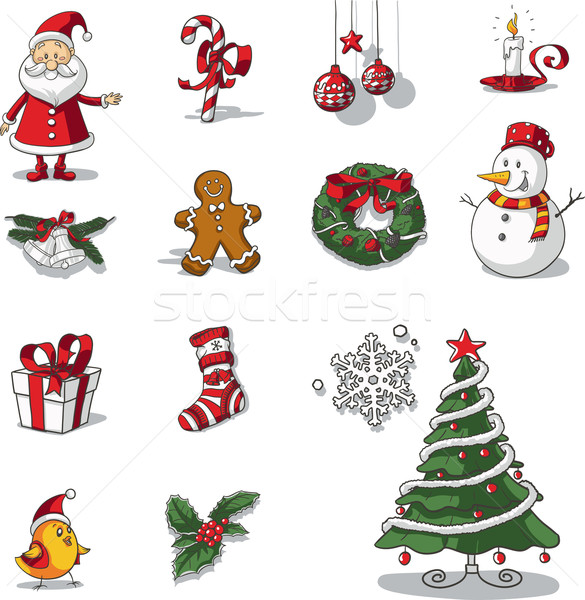 Christmas Graphic Elements Hand Drawn Vector Stock photo © NicoletaIonescu
