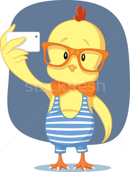 Stock photo: Hipster Easter Chick Takes Selfie with Smartphone
