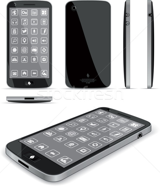Black Smart Phone - Multiple Views  Stock photo © NicoletaIonescu