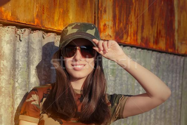 солдата портрет счастливым красивой Сток-фото © NicoletaIonescu