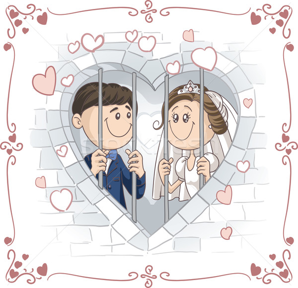Just Married Couple in Jail Vector Cartoon Stock photo © NicoletaIonescu