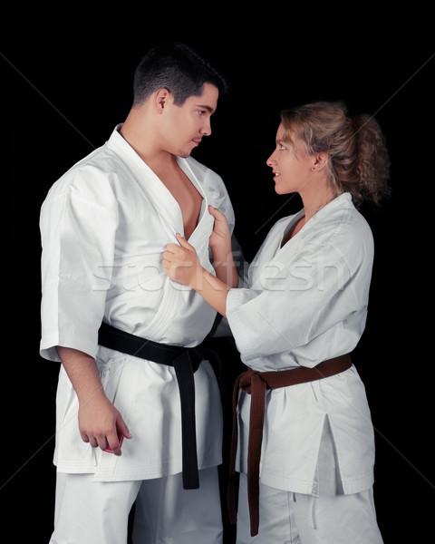 Stock fotó: Karate · pár · szenvedély · fiatal · szenvedélyes · visel