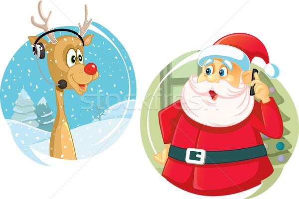 Kerstman rendier praten telefoon vector vriend Stockfoto © NicoletaIonescu