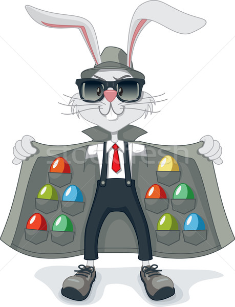 Funny Rabbit with Contraband Easter Eggs Vector Cartoon Stock photo © NicoletaIonescu