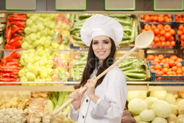 счастливым Lady повар большой ложку торговых Сток-фото © NicoletaIonescu
