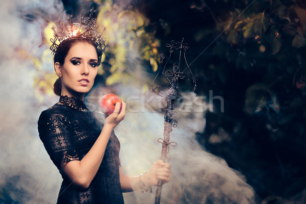 Evil Queen with Poisoned  Apple in Misty Forest Stock photo © NicoletaIonescu