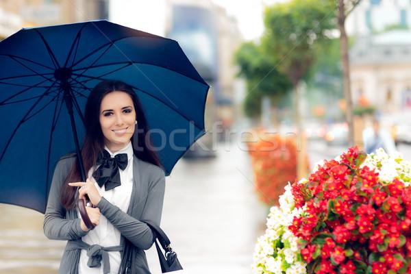 幸せ 女性 傘 外に 市 都市 ストックフォト © NicoletaIonescu