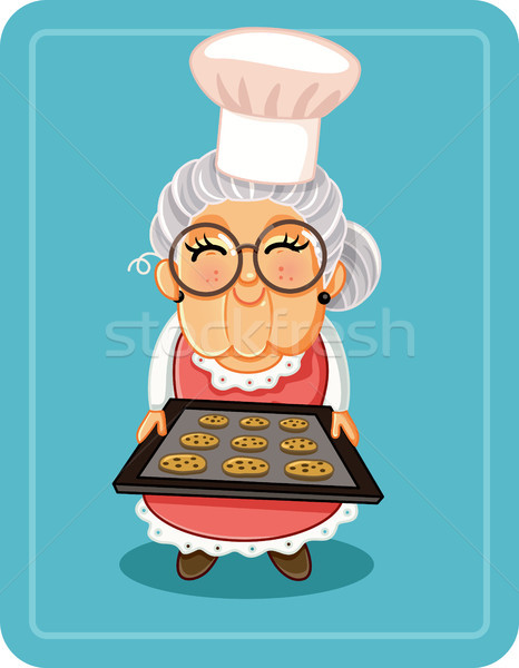 Grandma Baking Chocolate Chips Cookies Vector Illustration Stock photo © NicoletaIonescu
