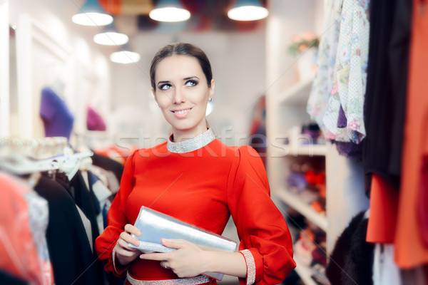 Fancy Elegant Woman with Silver Clutch Bag Shopping  Stock photo © NicoletaIonescu