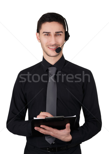 Call Center Man with Headset and Clipboard Isolated on White  Stock photo © NicoletaIonescu