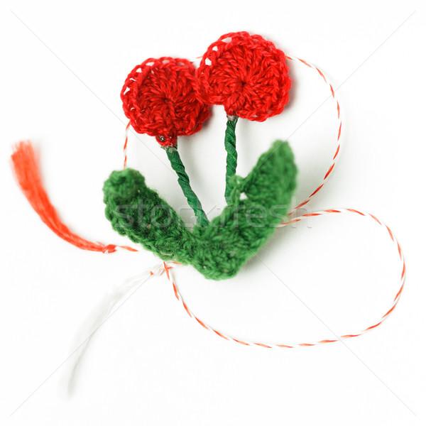 вязанье цветок ручной работы декоративный объект текстильной Сток-фото © NicoletaIonescu