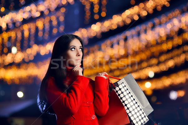 Foto stock: Navidad · mujer · pensando · qué · presenta · comprar