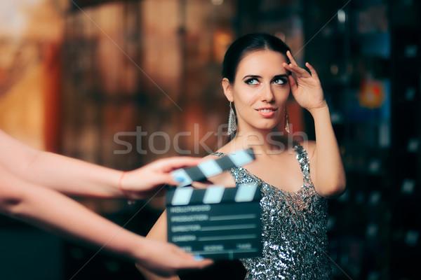 Pompás modell divat kampány videó kereskedelmi Stock fotó © NicoletaIonescu