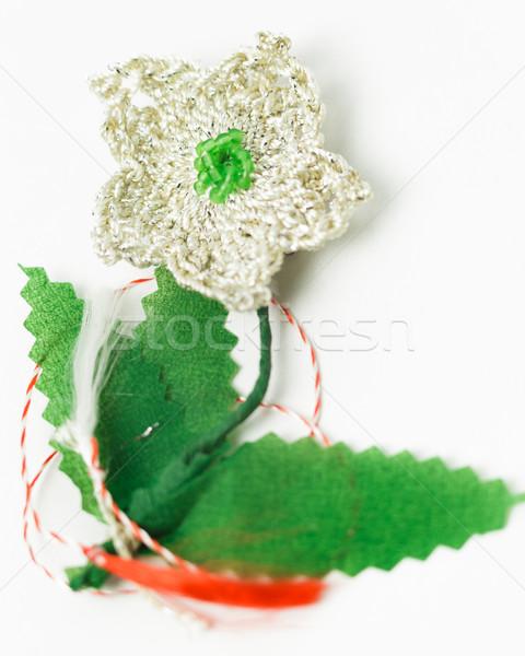Stockfoto: Haken · bloem · handgemaakt · decoratief · object · textiel