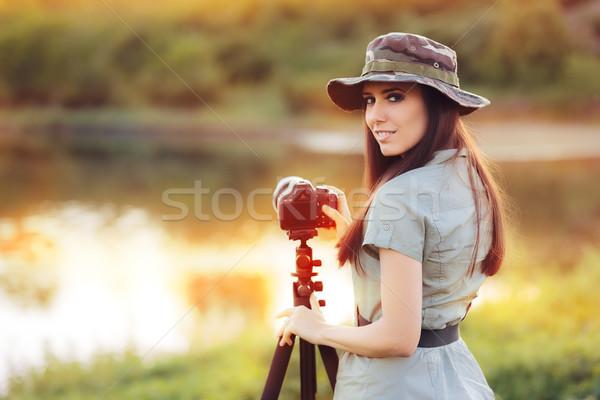 Landscape Photographer with Camera on a Tripod Stock photo © NicoletaIonescu