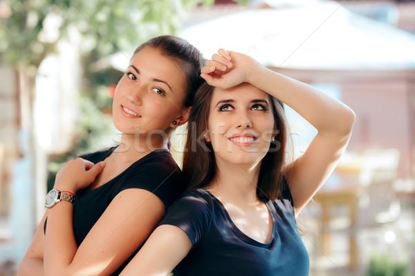 Portrait of Two Happy Beautiful Girls Stock photo © NicoletaIonescu