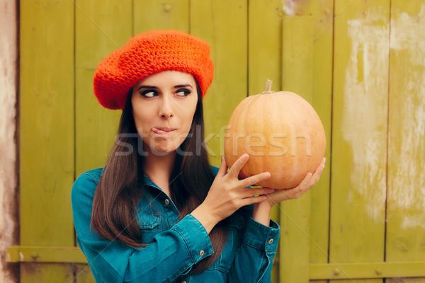 смешные осень женщину тыква осень Сток-фото © NicoletaIonescu