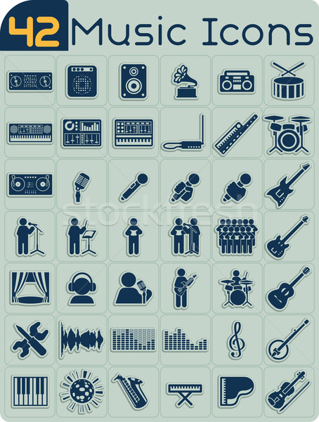 42 Music Icons Vector Set  Stock photo © NicoletaIonescu