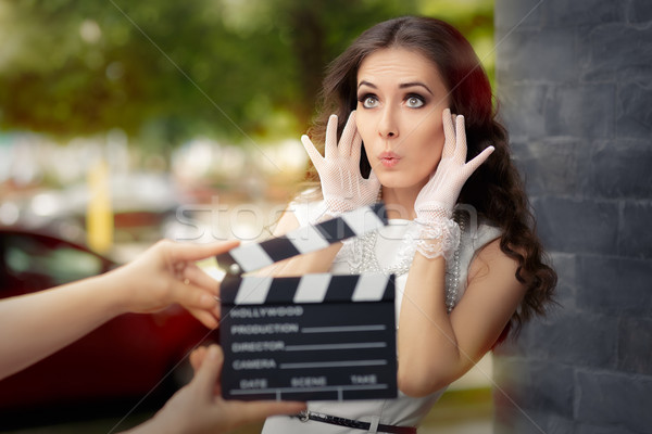Surprised Actress Shooting Movie Scene  Stock photo © NicoletaIonescu
