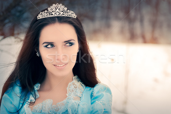 Stock photo: Close-up of Beautiful Snow Queen in Winter Decor