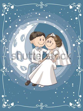 Cute Cartoon Couple Cuddles in Bed Stock photo © NicoletaIonescu