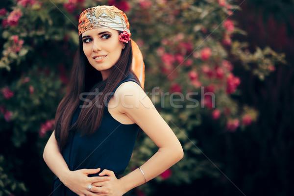 моде женщину голову шарф ретро-стиле Сток-фото © NicoletaIonescu