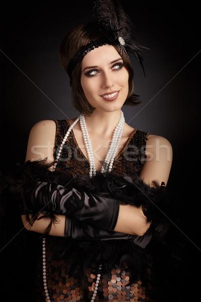 Mooie retro vrouw 20s klaar partij Stockfoto © NicoletaIonescu