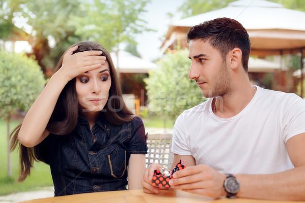 Meglepődött nő eljegyzési gyűrű férfi házasság javaslat Stock fotó © NicoletaIonescu