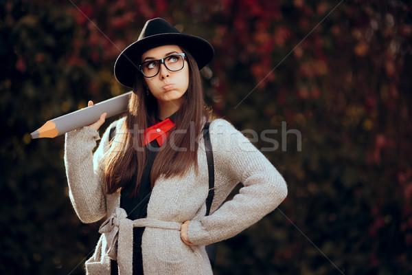 Funny student fedora okulary plecak Zdjęcia stock © NicoletaIonescu