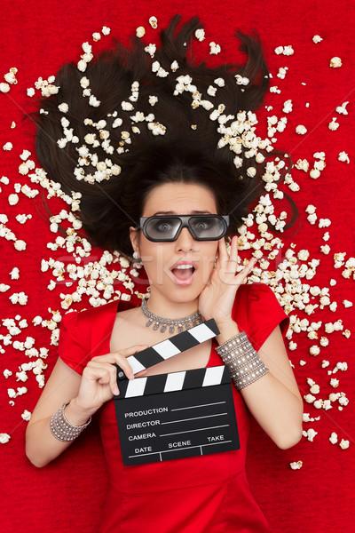 şaşırmış kız 3D sinema gözlük patlamış mısır Stok fotoğraf © NicoletaIonescu
