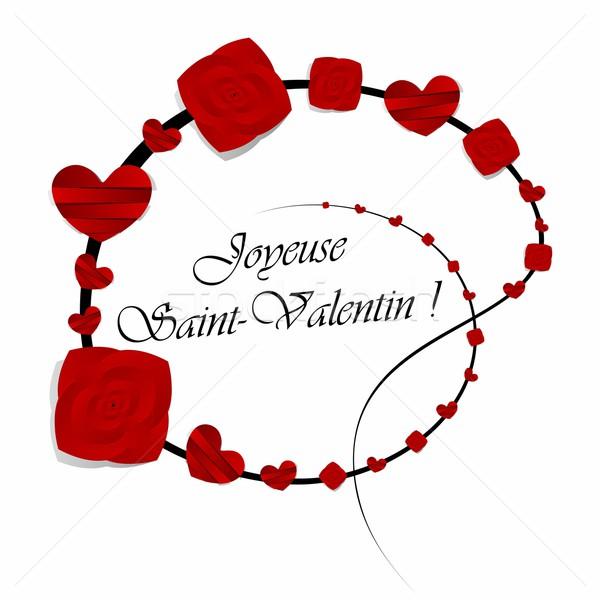 Photo stock: Heureux · saint · valentin · carte · de · vœux · fleurs · mariage · couple