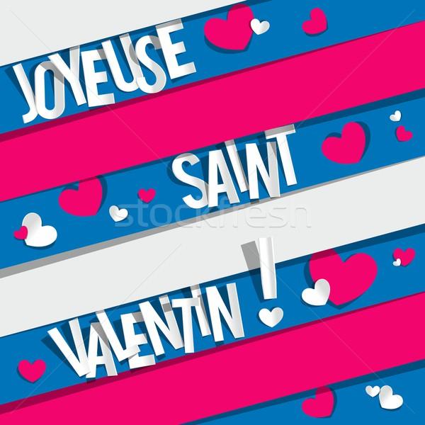 Heureux saint valentin carte de vœux fleurs mariage couple Photo stock © nicousnake