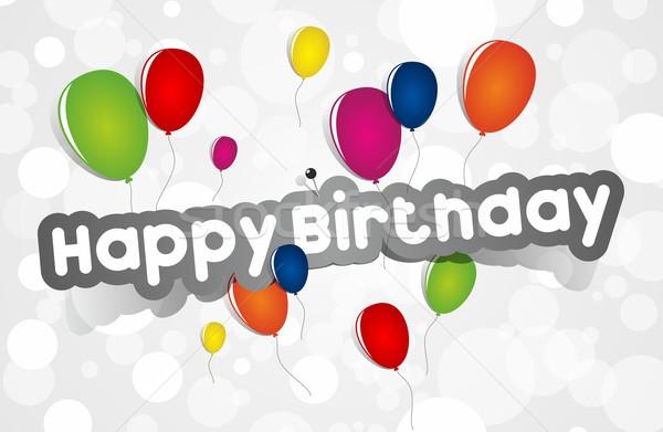 Joyeux anniversaire carte de vœux coloré papier texture heureux Photo stock © nicousnake